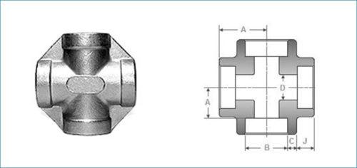 Stainless Steel Socketweld Unequal Cross