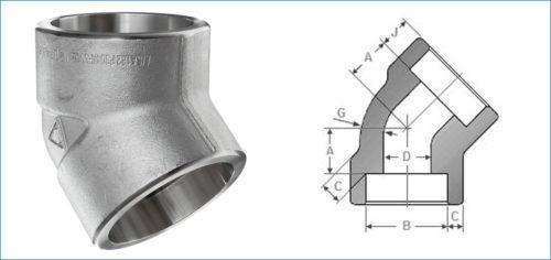 Stainless Steel 45 Degree Socketweld Elbow