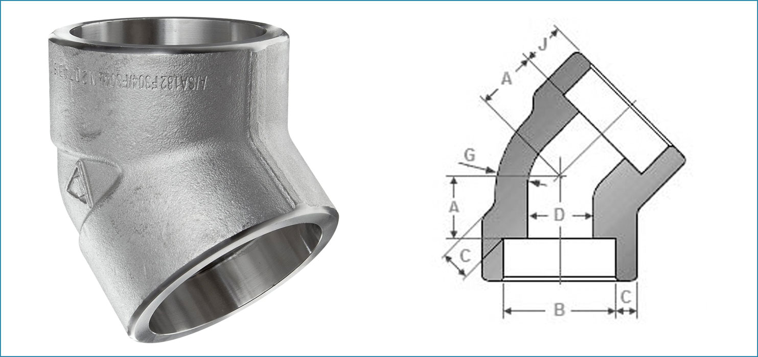Stainless Steel 45 Degree Socketweld Elbow